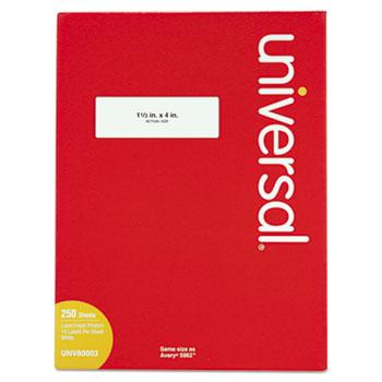White Labels, Inkjet/Laser Printers, 1.33 x 4, White, 14/Sheet, 250 Sheets/Box