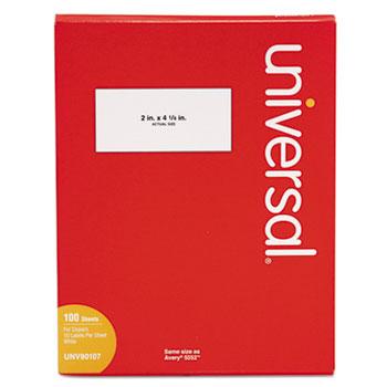 Universal Copier Mailing Labels, Copiers, 2 x 4.25, White, 10/Sheet, 100 Sheets/Box
