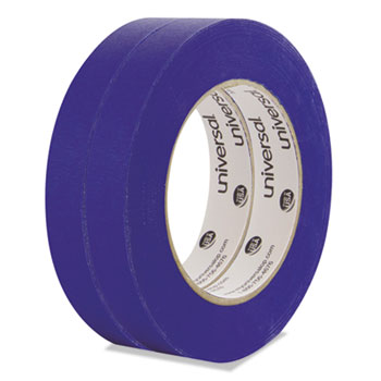 "Universal® Premium Blue Masking Tape with UV Resistance, 3"" Core, 18 mm x 54.8 m, Blue, 2/Pack"