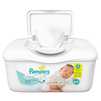 Sensitive Baby Wipes, White, Cotton, Unscented, 64/Tub, 8 Tub/Carton