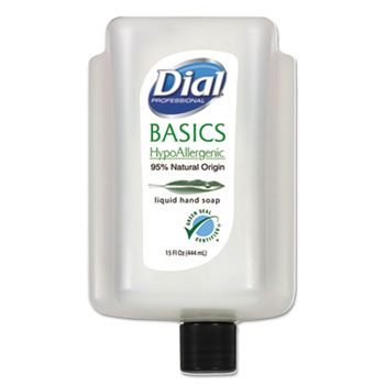 Dial® Basics Hypoallergenic Liquid Soap, Floral, 15 oz Cartridge, 6/Carton