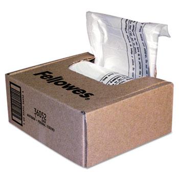 Fellowes® Powershred Shredder Waste Bags, 6-7 gal Capacity, 100/CT
