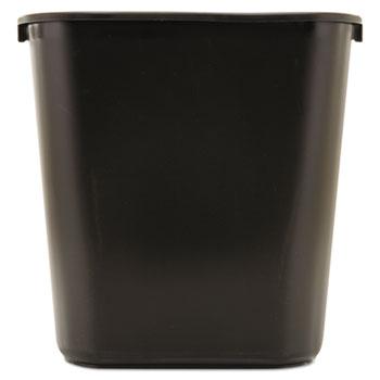 Deskside Plastic Wastebasket, Rectangular, 7gal, Black