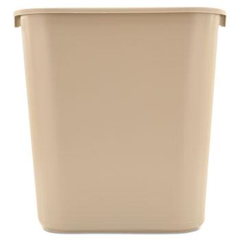 Rubbermaid® Commercial Deskside Plastic Wastebasket, Rectangular, 7gal, Beige