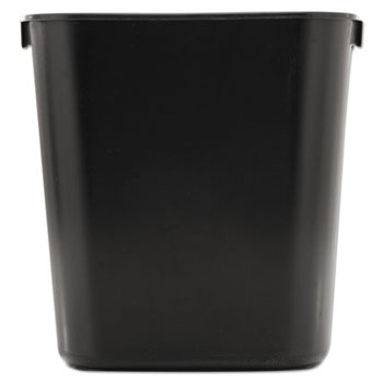 Deskside Plastic Wastebasket, Rectangular, 3.5gal, Black