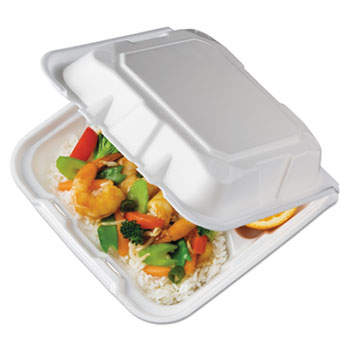 Pactiv Foam Hinged Lid Containers, White, 8.4375 x 8 1/8 x 3, 3-Compartment, 150/Crtn