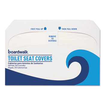 Boardwalk® Premium Half-Fold Toilet Seat Covers, 14.25 x 16.5, White, 250 Covers/Sleeve, 4 Sleeves/Carton