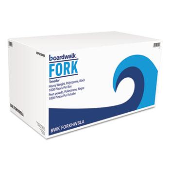 Boardwalk® Heavyweight Polystyrene Cutlery, Fork, Black, 1000/Carton