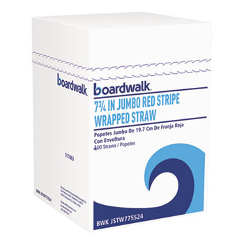 "Boardwalk® Wrapped Jumbo Straws, 7 3/4"", Plastic, Red w/White Stripe, 400/Pack, 25 Packs/CT"