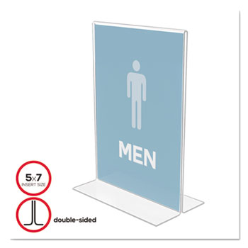 deflecto® Stand-Up Double-Sided Sign Holder, Plastic, 5 x 7, Clear