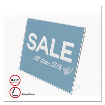 Slanted Desk Sign Holder, Plastic, 11 x 8 1/2, Clear