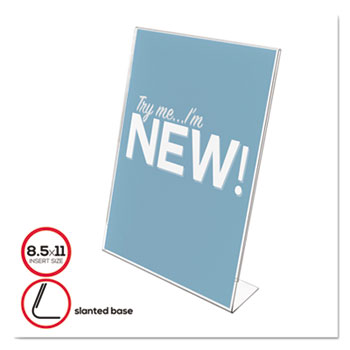 Slanted Desk Sign Holder, Plastic, 8 1/2 x 11, Clear