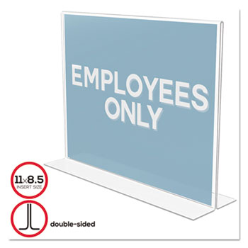 Stand-Up Double-Sided Sign Holder, Plastic, 11 x 8 1/2