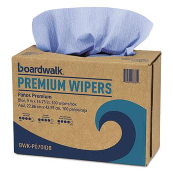Boardwalk® Hydrospun Wipers, Blue, 9 x 16.75, 100 Wipes/Box, 10 Boxes/Carton