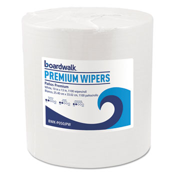Boardwalk® Hydrospun Wipers, White, 10 x 13, 1100/Roll
