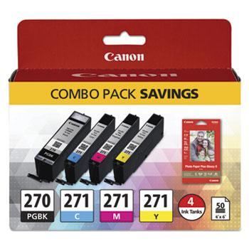 Canon® 0373C005 (PGI-270; CLI-271) Inks & Paper Pack, 50 Sheets, 4 x 6