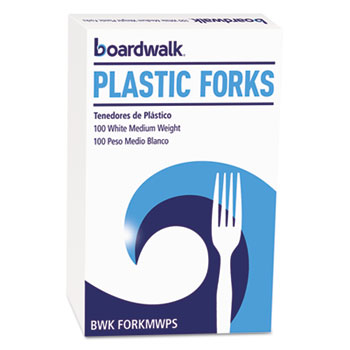 Mediumweight Polystyrene Cutlery, Fork, White, 100/Box