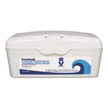 Boardwalk® Flushable Moist Wipes, 7 x 5 1/4, Fresh Scent, 42/Tub
