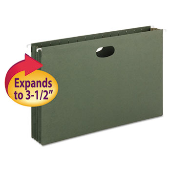 Smead 3 1/2 Inch Hanging File Pockets with Sides, Legal, Standard Green, 10/Box