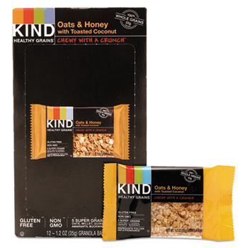 KIND Healthy Grains Bar, Oats and Honey with Toasted Coconut, 1.2 oz., 12/BX