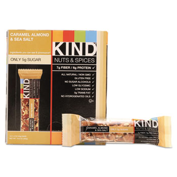 KIND Nuts and Spices Bar, Caramel Almond and Sea Salt, 1.4 oz Bar, 12/Box