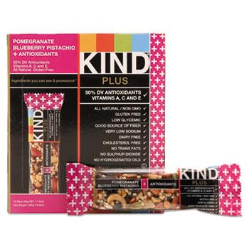 KIND Plus Nutrition Boost Bar, Pom. Blueberry Pistachio/Antioxidants, 1.4 oz, 12/Box