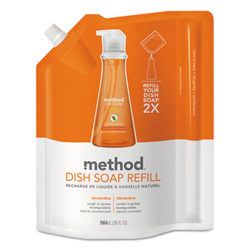 Method® Dish Pump Refill, Clementine Scent, 36 oz. Pouch, 6/Carton