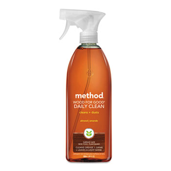 Method® Daily Wood Cleaner, Almond Scent, 28 oz. Spray Bottle, 8/Carton