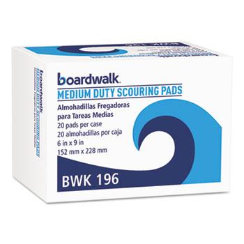Boardwalk® Medium Duty Scour Pad, Green, 6 x 9, 20/Carton