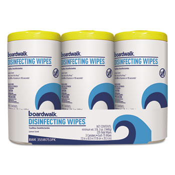 Boardwalk® Disinfecting Wipes, 8 x 7, Lemon Scent, 75/Canister, 3 Canisters/PK, 4/Pks/Ct
