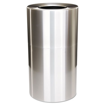 Rubbermaid® Commercial Two-Piece Open Top Indoor Receptacle, Round, Satin Aluminum, 35gal