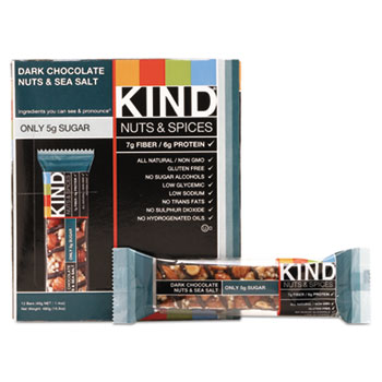 Nuts and Spices Bar, Dark Chocolate Nuts and Sea Salt, 1.4 oz., 12/BX