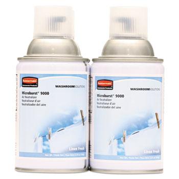 Rubbermaid® Commercial Microburst 9000 Air Freshener Refill, Linen Fresh, 5.3oz, Aerosol, 4/Carton