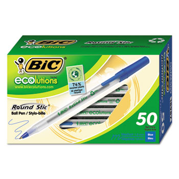 Ecolutions Round Stic Ballpoint Pen, Blue Ink, 1mm, Medium, 50/Pack