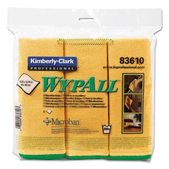 WypAll® Cloths w/Microban, Microfiber, 15 3/4 x 15 3/4, Yellow, 6/Pack