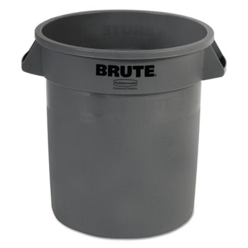 Rubbermaid® Commercial Round Brute Container, Plastic, 10 gal, Gray