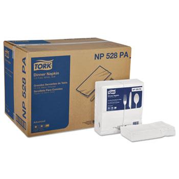 Tork® Advanced White Dinner Fold Napkins, 2-Ply Paper, 15 x 17, 2800/Ctn