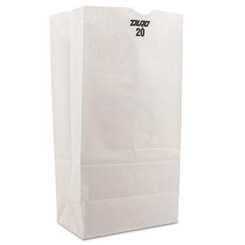 General #20 Paper Grocery Bag, 40lb White, Standard 8 1/4 x 5 5/16 x 16 1/8, 500 bags