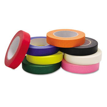 """Colored Masking Tape Classroom Pack, 1"""" x 60yds, Assorted, 8/Pack"""