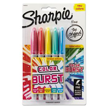 Sharpie® Fine Tip Permanent Marker, Color Burst Assortment, 5/Pack