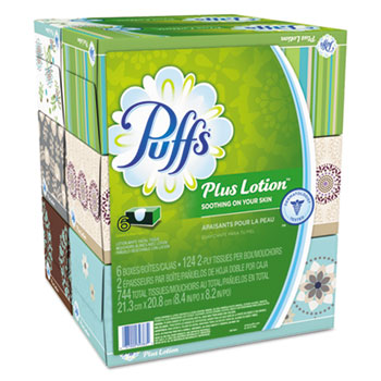Puffs® Plus Lotion™ Facial Tissue, 6 Boxes/Pack, 4 Packs/Carton