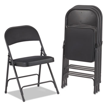 Alera® Steel Folding Chair with Two-Brace Support, Graphite Seat/Graphite Back, Graphite Base, 4/Carton