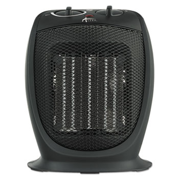 "Ceramic Heater, 7 1/8""w x 5 7/8""d x 8 3/4""h, Black"