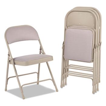 Alera® Steel Folding Chair with Two-Brace Support, Tan Seat/Tan Back, Tan Base, 4/Carton