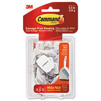 Command™ General Purpose Hooks, 0.5lb Capacity, Wire, White, 28 Hooks, 32 Strips/Pack