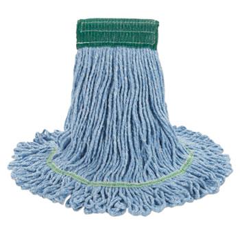 "Boardwalk® Super Loop Wet Mop Head, Cotton/Synthetic Fiber, 5"" Headband, Medium Size, Blue, 12/Carton"