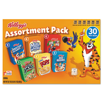 Kellogg's® Breakfast Cereal Mini Boxes, Assorted, 2.39 oz Box, 30/CT