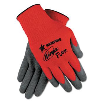 Memphis™ Ninja Flex Latex Coated Palm Gloves N9680L, X-Large, Red/Gray, 1 Dozen