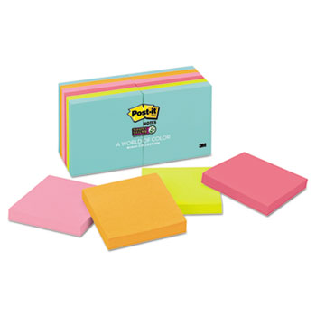 Post-it® Notes Super Sticky, Pads in Miami Colors, 3 x 3, 90/Pad, 12 Pads/Pack