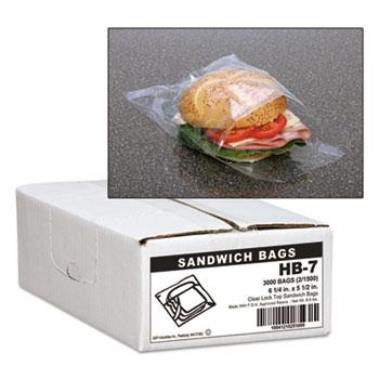 Handi-Bag® Jumbo Sandwich Bags, Fold Lock, 5 1/2 x 6 1/4, 0.7mil, Clear, 3000/Carton